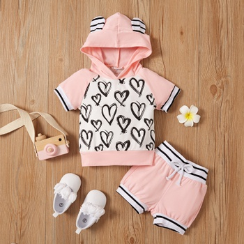 2pcs Summer Hooded Cotton Short-sleeve Baby Girl Sweet Baby's Sets