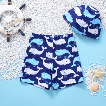 2-piece Toddler Boy Whale Print Swimsuit with Hat