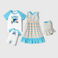 Mosaic Stripe Tank Dress and Raglan Sleeve Top Sibling Sets