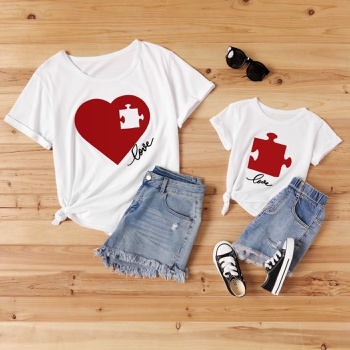 Love Print White Cotton T-shirts for Mom and Me