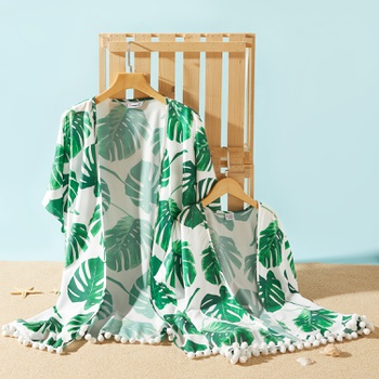 Mommy and Me Casual Leaf Print Pompom Decor Beach Cover Up