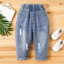 Toddler Solid Moustache Ripped Jeans