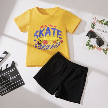 2-piece Baby/Toddler Solid Letter Top and Shorts Set
