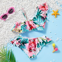 Beautiful Floral  Ruffled Suspender Swimsuit Set