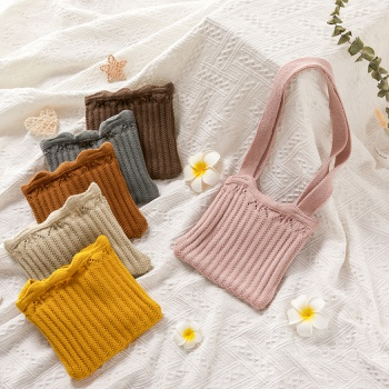 Solid Knitted Bag for Girls