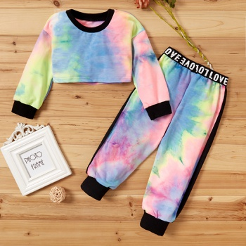 2-piece Baby / Toddler Colorful Tie-dye Letter Top and Pants Set