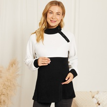 Maternity Stand collar Color Block Color block Black/White Long-sleeve Nursing Tee