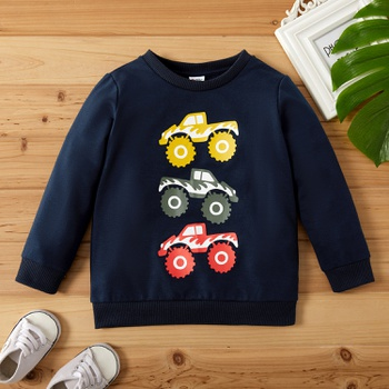Toddler Boy Vehicle Pattern Pullover