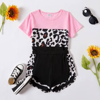 Kid Girl Leopard Top & Shorts Set