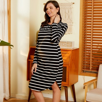 Maternity Round collar Stripes full print Black Knee length Tunic Long-sleeve Dress