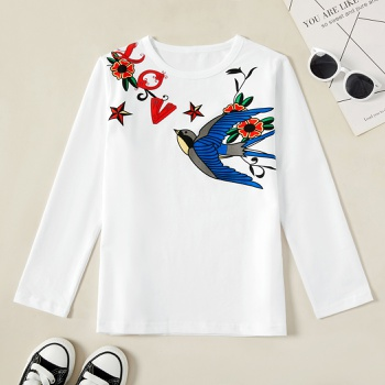 Kids Girl Swallow Print Longsleeves Tee
