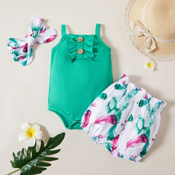 3pcs Baby Girl Sleeveless Floral Print Ruffled Baby's Sets