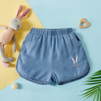 Baby Girl casual Cotton Animal Rabbit Embroidery Solid Shorts