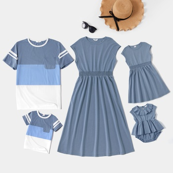 Solid and Color Block Family Matching Blue Sets