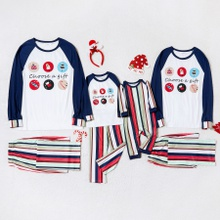 Family Matching Christmas Gift Print Striped Pajamas Sets (Flame Resistant)