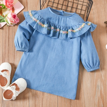 Baby / Toddler Floral Flounced Collar Long-sleeve Dress