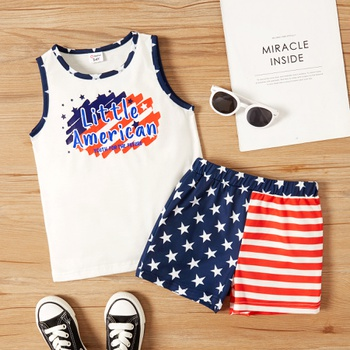 Toddler Boy Letter Print Tee And Stars Shorts