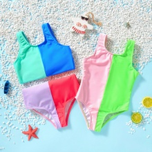 Toddler Girl Two Colors Mix Swimsuit