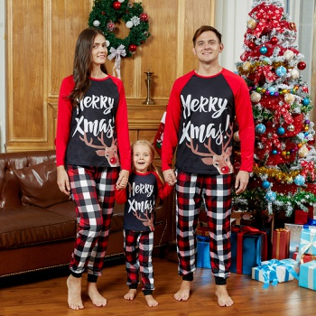 Mosaic Family Matching Reindeer Merry Christmas Pajamas Set(Flame Resistant)