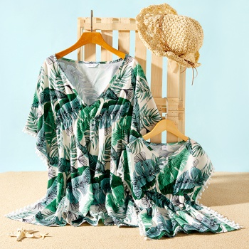 Leaf Plant Print Beach Cover Up for Mommy and Me