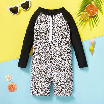 Toddler Leopard Print Long-sleeve One piece Swimsuit