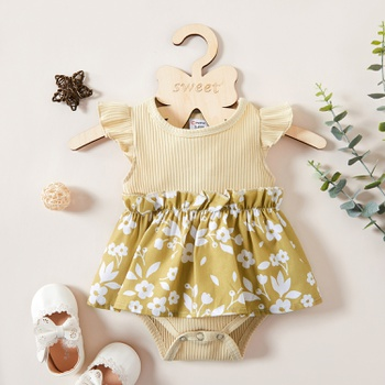 1pc Baby Girl casual Floral Cotton  Rompers & Bodysuits