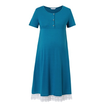 Maternity Round collar Plain Turquoise Normal A Short-sleeve Nursing Dress