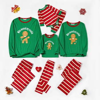 Family Matching Gingerbread Man Print Striped Christmas Pajamas Sets (Flame Resistant)