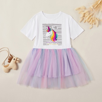 Stylish Striped Unicorn Rainbow Mesh Dress