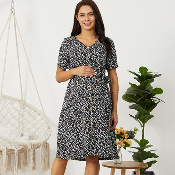 Stylish Floral Print Short-sleeve Maternity Dress
