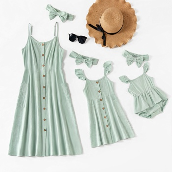 Solid Color Matching Green Sling Midi Dresses