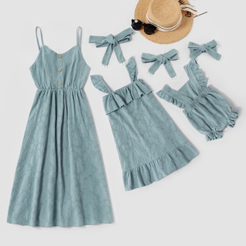 Mosaic 100% Cotton Mommy and Me Dresses Flounce Romper for Mom - Girl -Baby