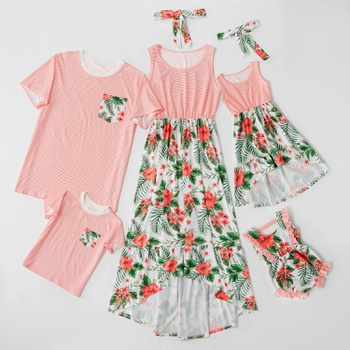 Stripe Floral Print Family Matching Sets(Tank Dresses - T-shirts - Baby Rompers)